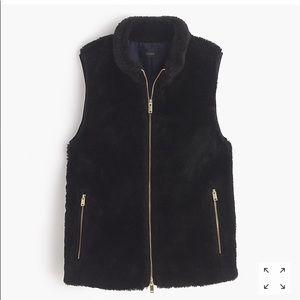 JCrew Plush Fleece Excursion Vest. XS. NWT. Black